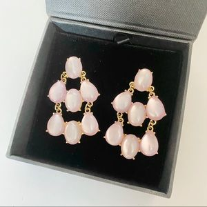 Pink and Gold Chandelier Style Pierced Earrings